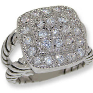 Ring cable double pave bands cubic zirconia cz NWT